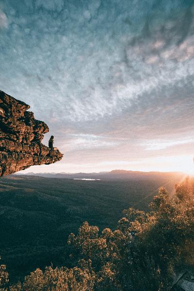 Sitting on cliff edge