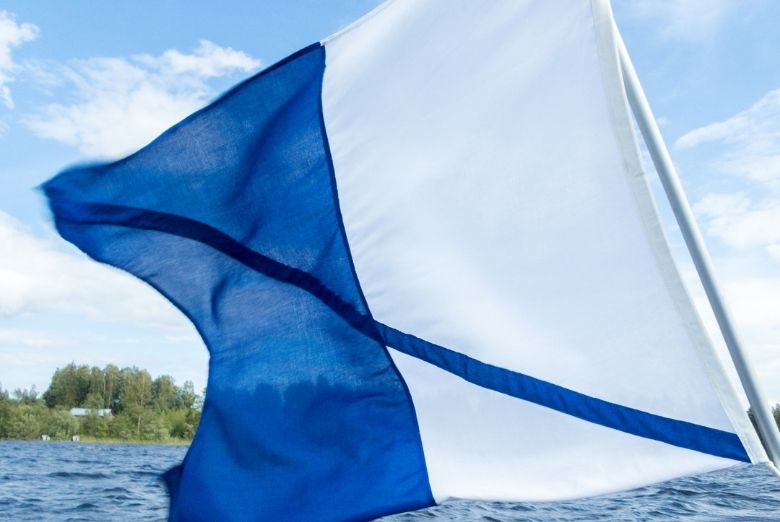 blue and white alpha flag