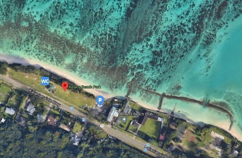 aerial view of kaiona beach park