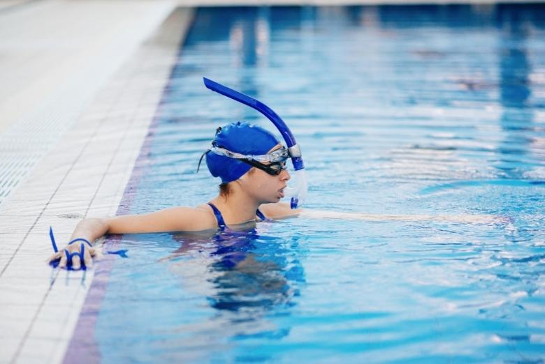 competitive swimmer with swim snorkel