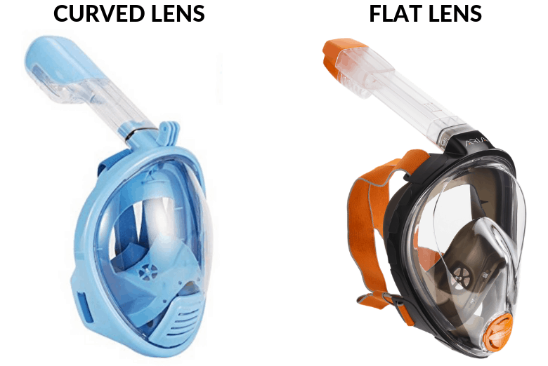 Curved and Flat Lens full face snorkel masks